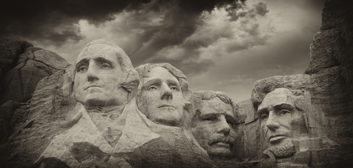 black white view mount rushmore
