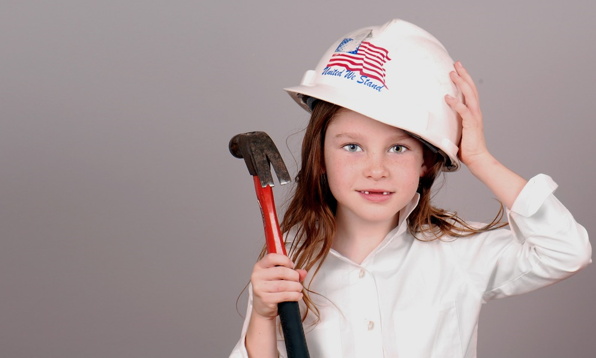 young girl wearing united we stand helmet